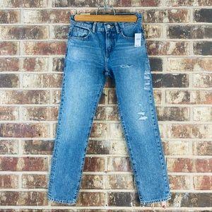 Gap Slim Taper Distressed Medium Wash Jeans Sz 10